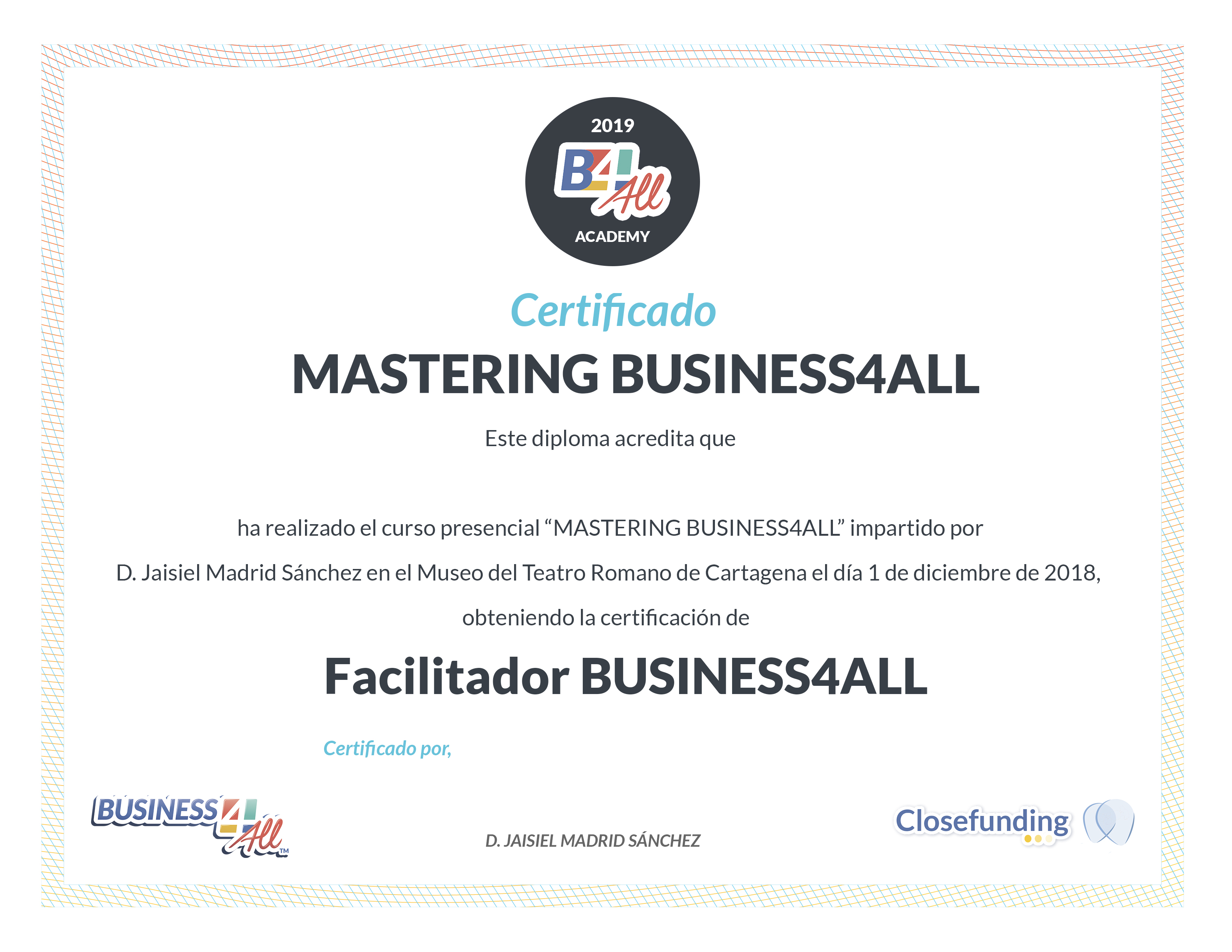 Image of completion certificate as a Business4ALL Facilitator