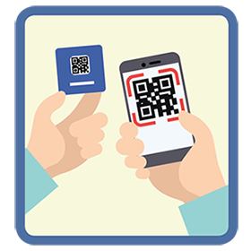 Illustrations showint the capture of QR codes located in the back of Business4ALL cards